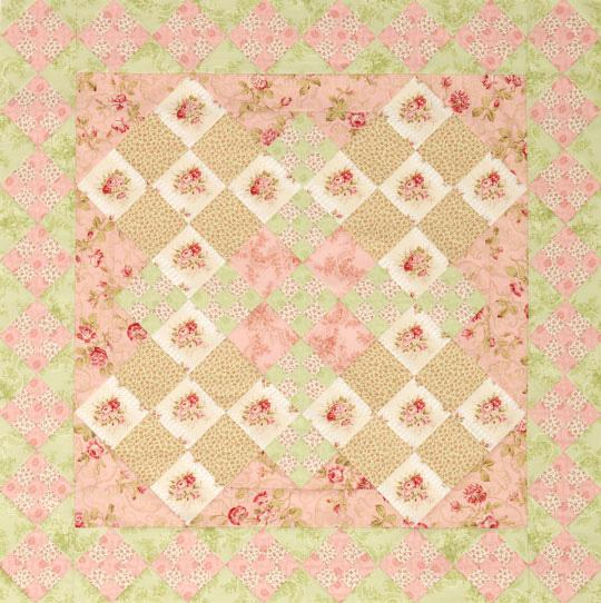 Floral Double Nine-Patch Quilt