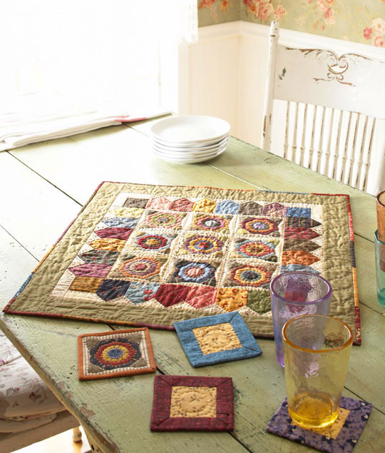Scrappy Floral Applique Table Mat