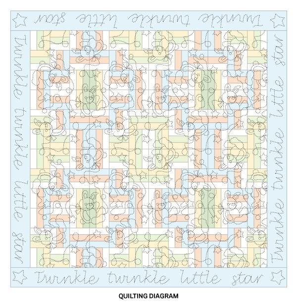 Soft and Bright Baby Quilt Quilting Diagram