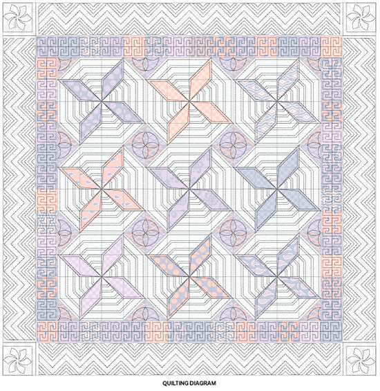 Girly Swirls Quilting Diagram