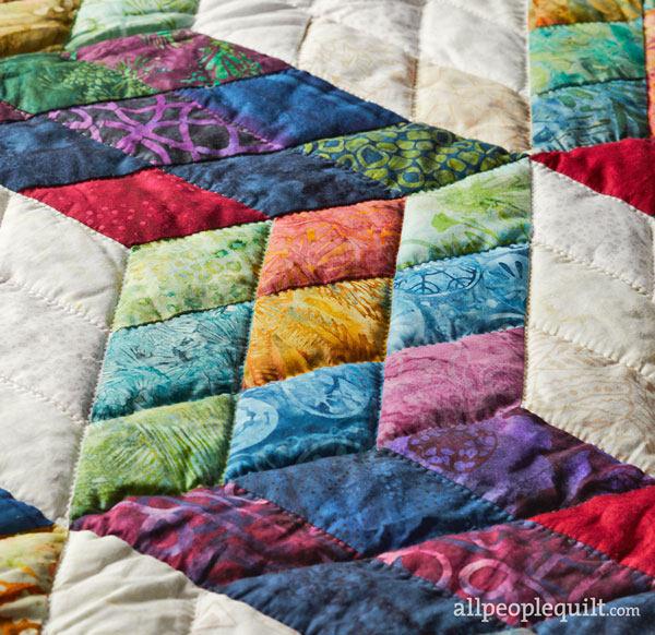 Tumbling Cubes Hand-Quilting Detail