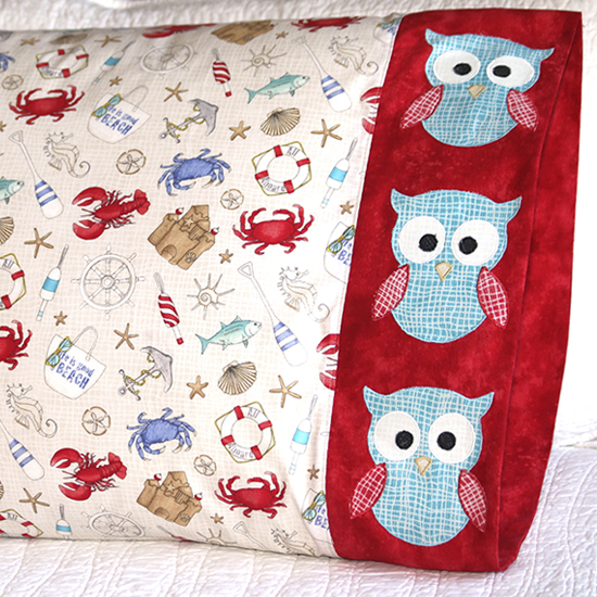Northcott - Pillowcase 67 Owl Appliqué