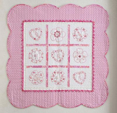 Pink Embroidered Hearts & Flowers