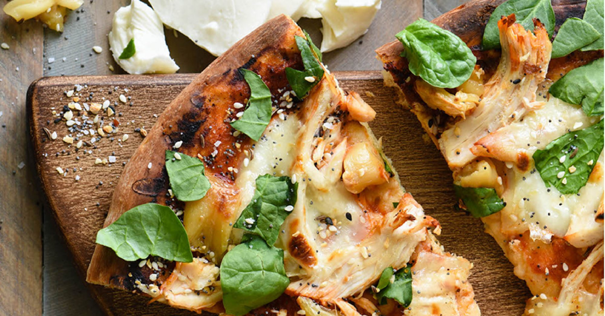 Grilled Chicken Pizza with Mozzarella and Roasted Garlic image