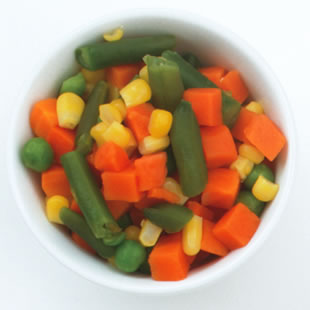 One serving of mixed vegetables