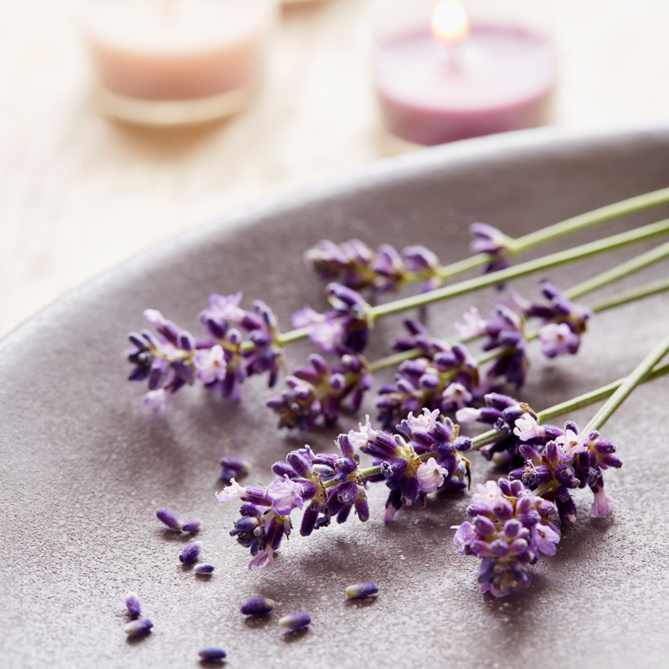 lavender sprigs and candles