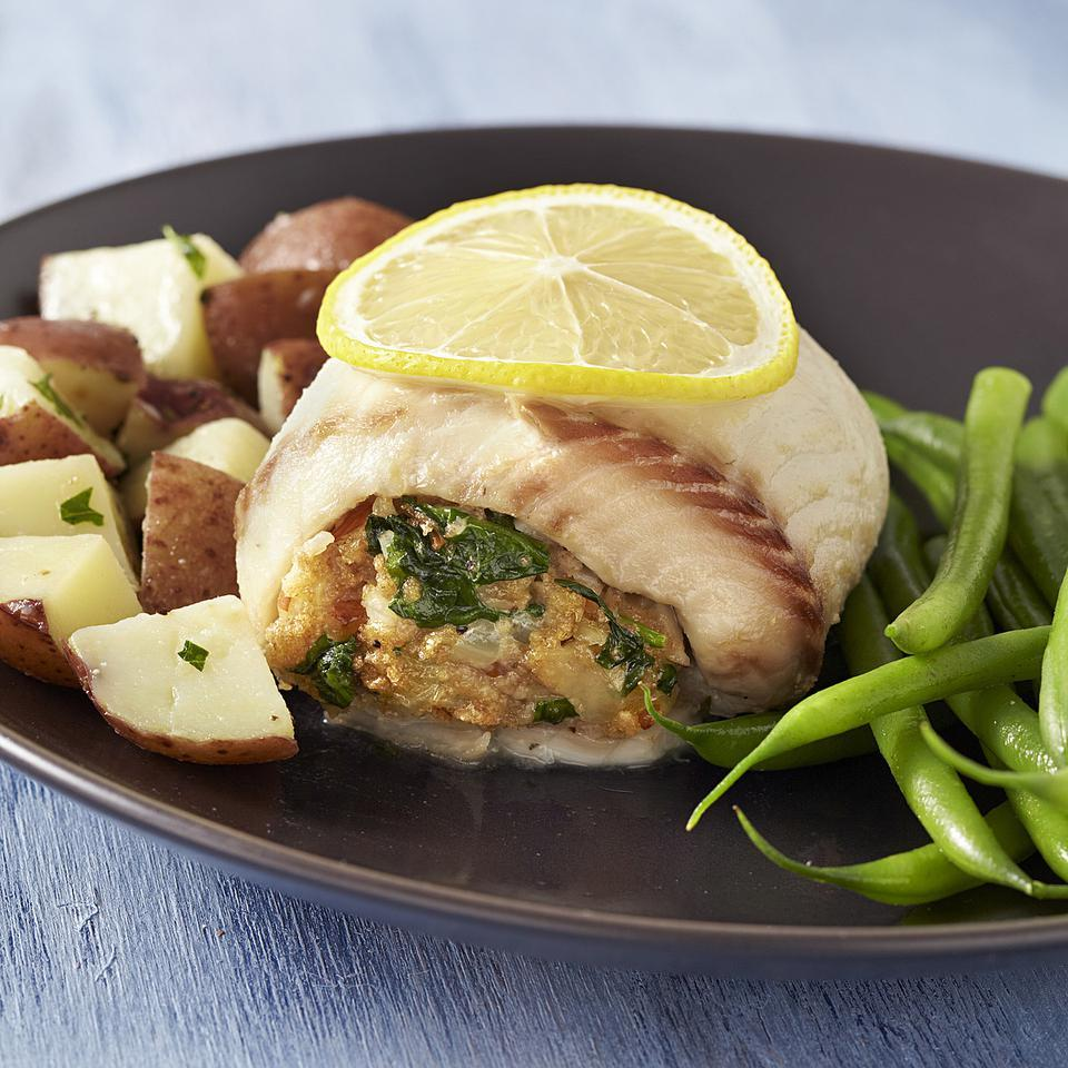 Spinach Gruyere Stuffed Tilapia Recipe Eatingwell