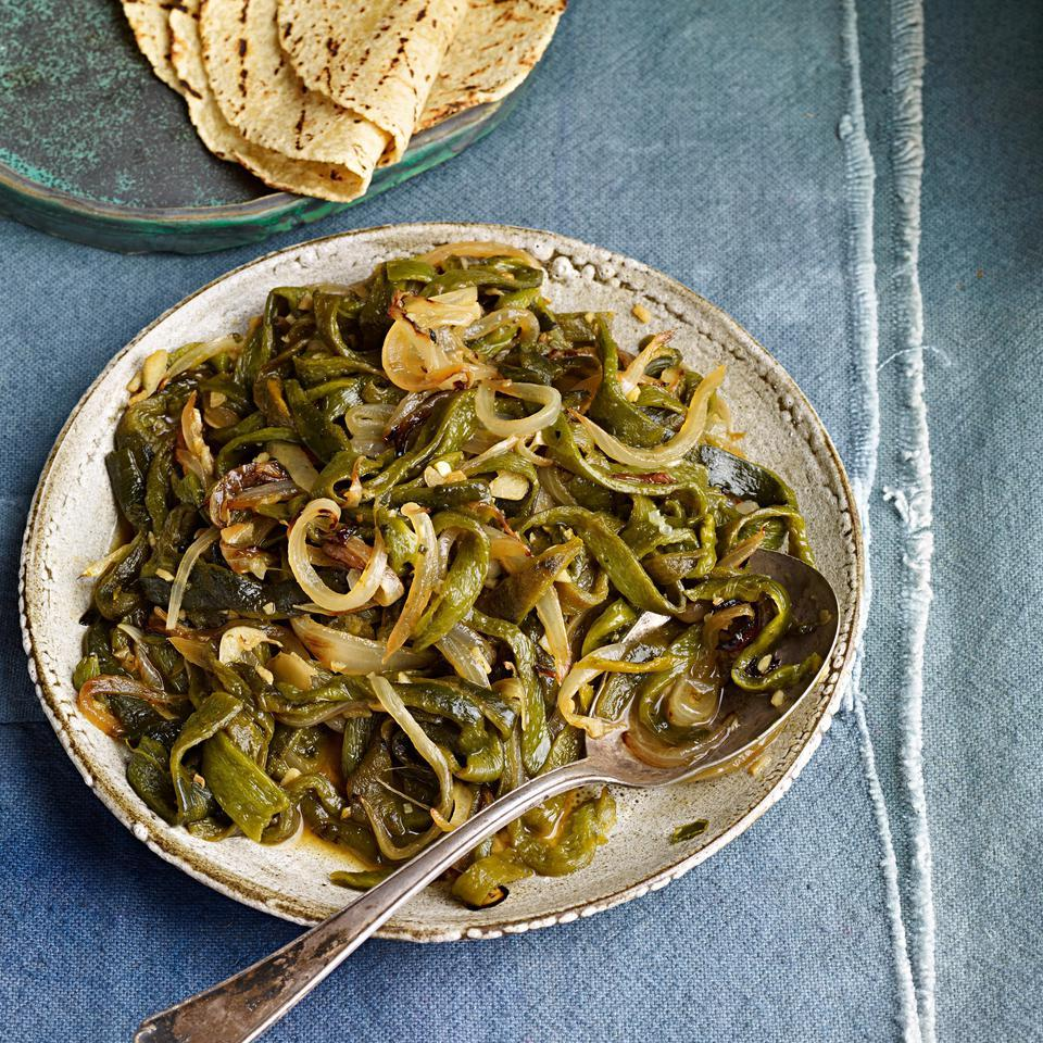 Roasted Poblano Chiles With Onion Rajas Recipe Eatingwell