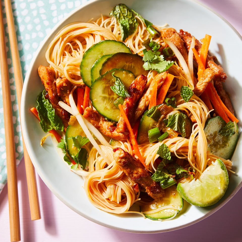 pork and rice noodle dish