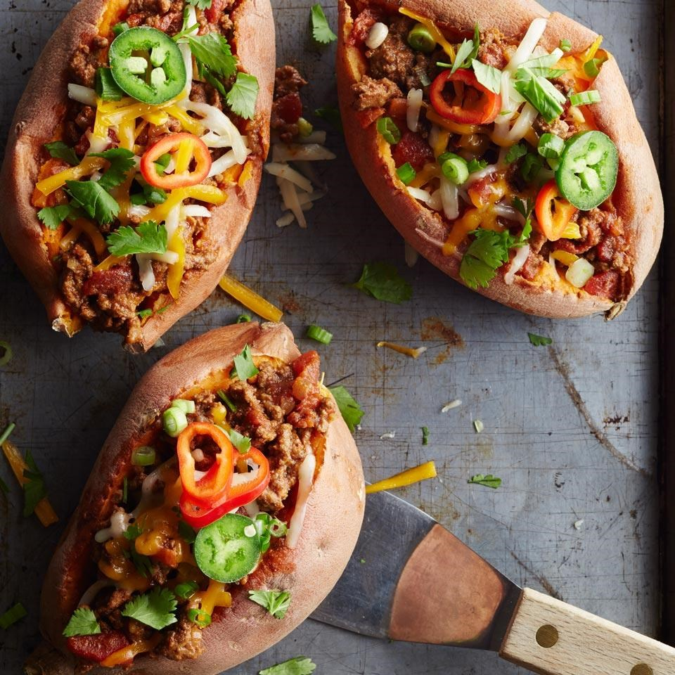 Chili-Topped Sweet Potatoes
