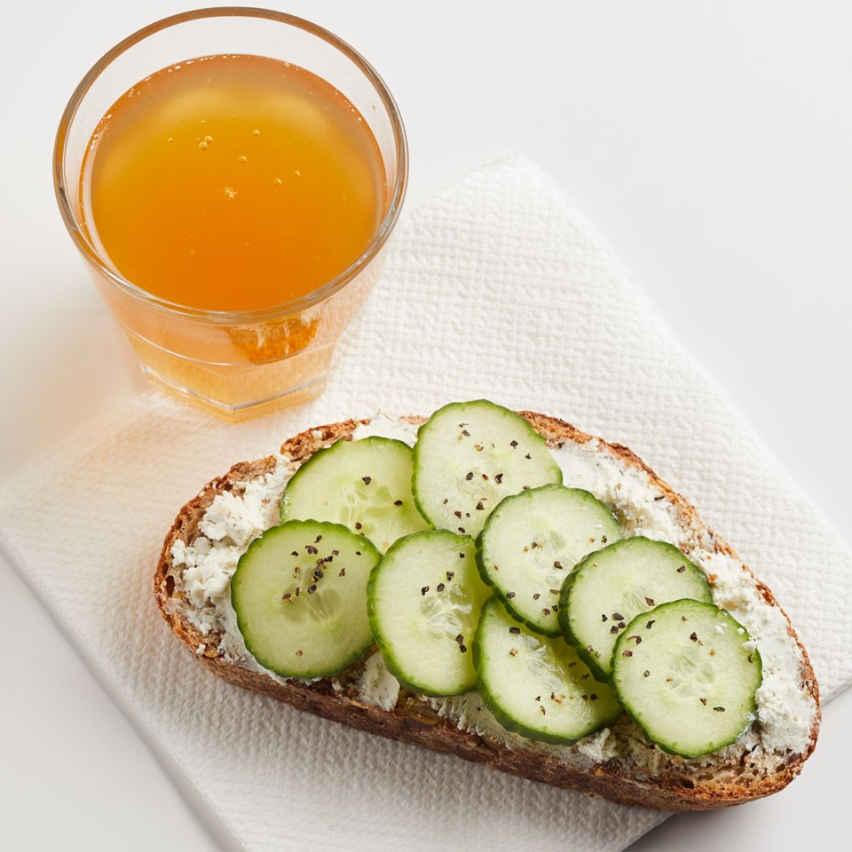 Cucumber Sandwich with Kombucha