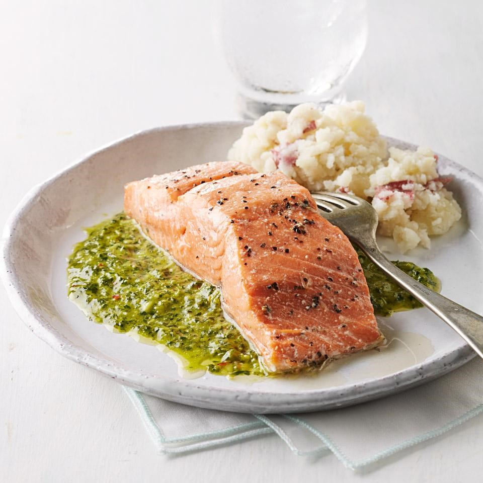 Roast Salmon with Chimmichurri Sauce