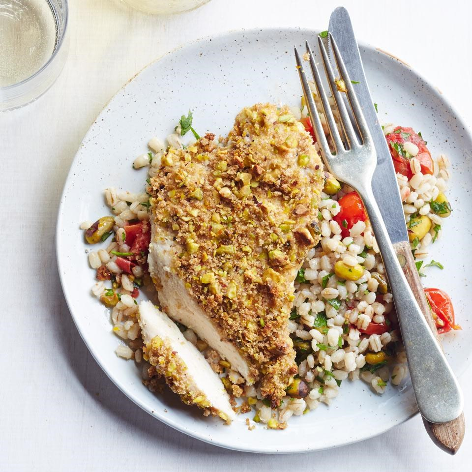 Pistachio-Crusted Chicken with Warm Barley Salad