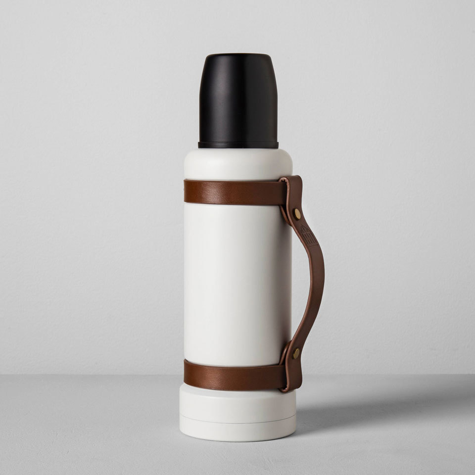 Magnolia Portable Beverage Mug with Leather Strap