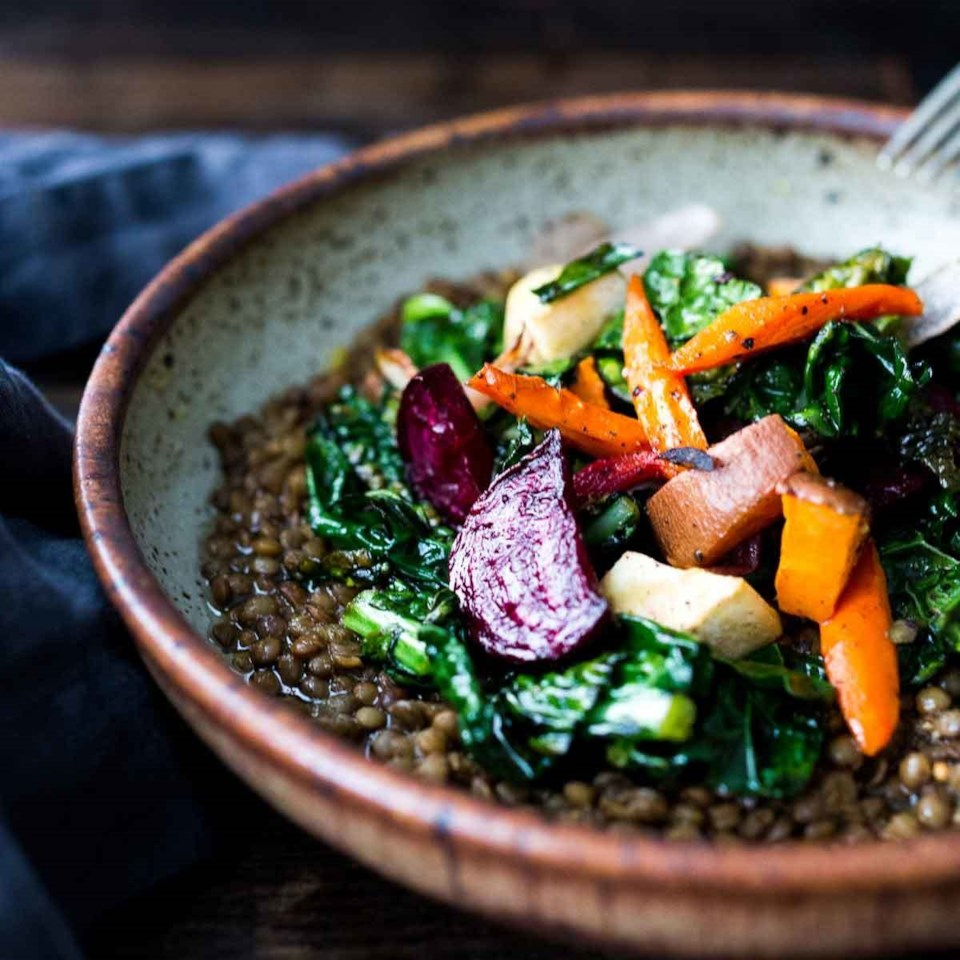 Roasted Root Veggies and Greens over Spiced Lentils