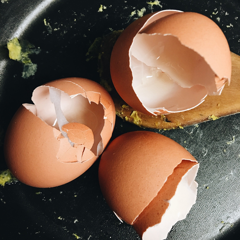 egg shells in a pan