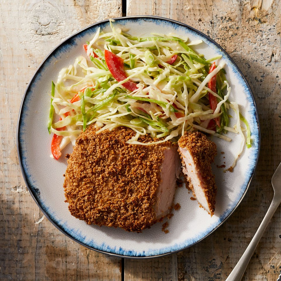 Panko-Crusted Pork Chops with Asian Slaw