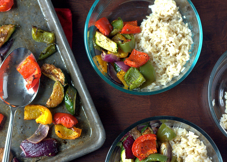 rice and roasted vegetable bowls