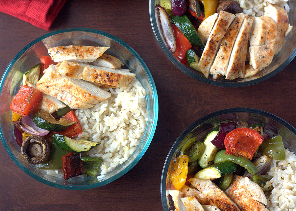 chicken roast vegetable and rice bowls