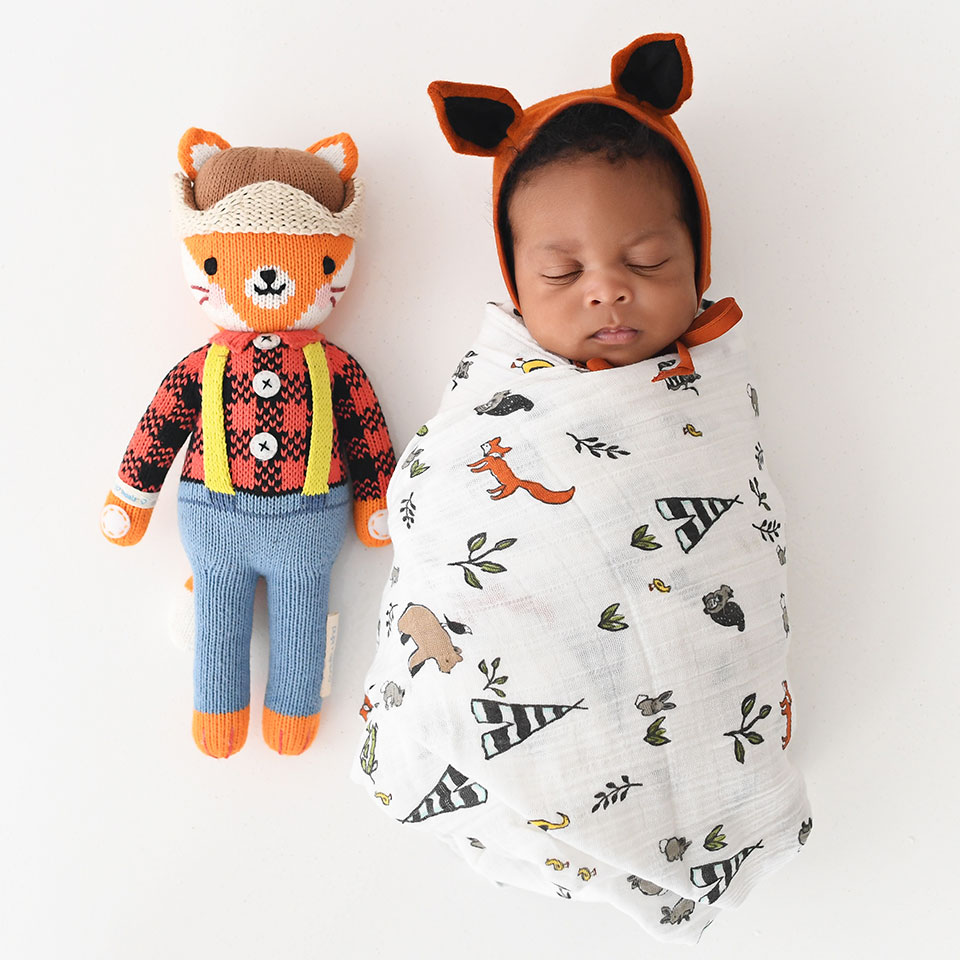 fox doll with baby