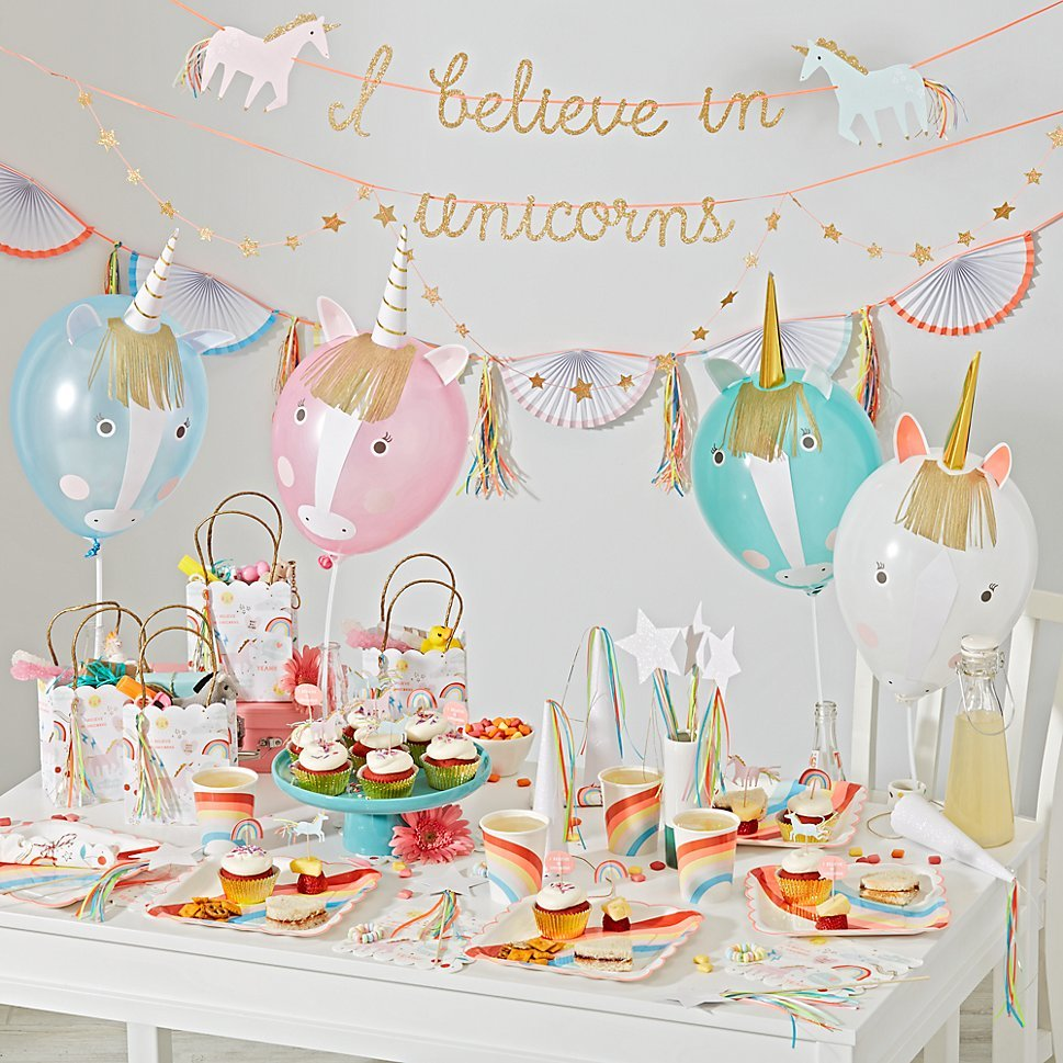 Unicorn-themed party supplies