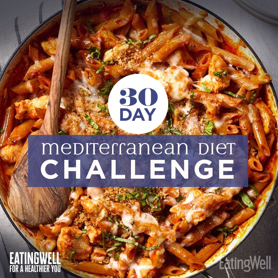 30-Day Mediterranean Diet Challenge text over delicious looking pasta meal