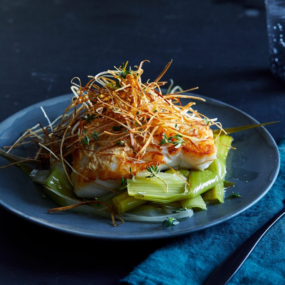 Coriander-Crusted Cod with Leeks Two Ways