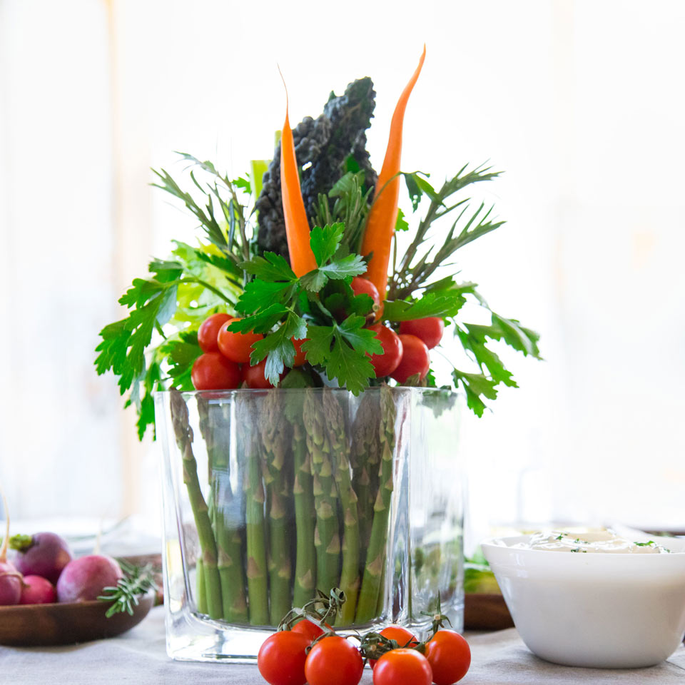 An edible table arrangement made from fresh vegetables