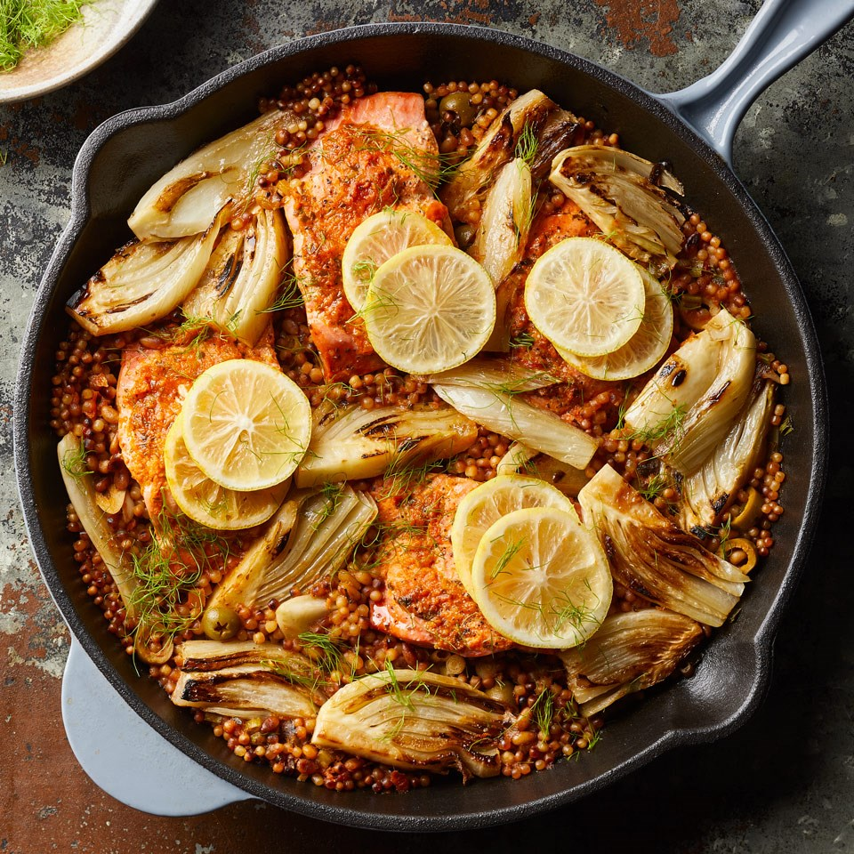 One-Skillet Salmon with Fennel & Sun-Dried Tomato Couscous