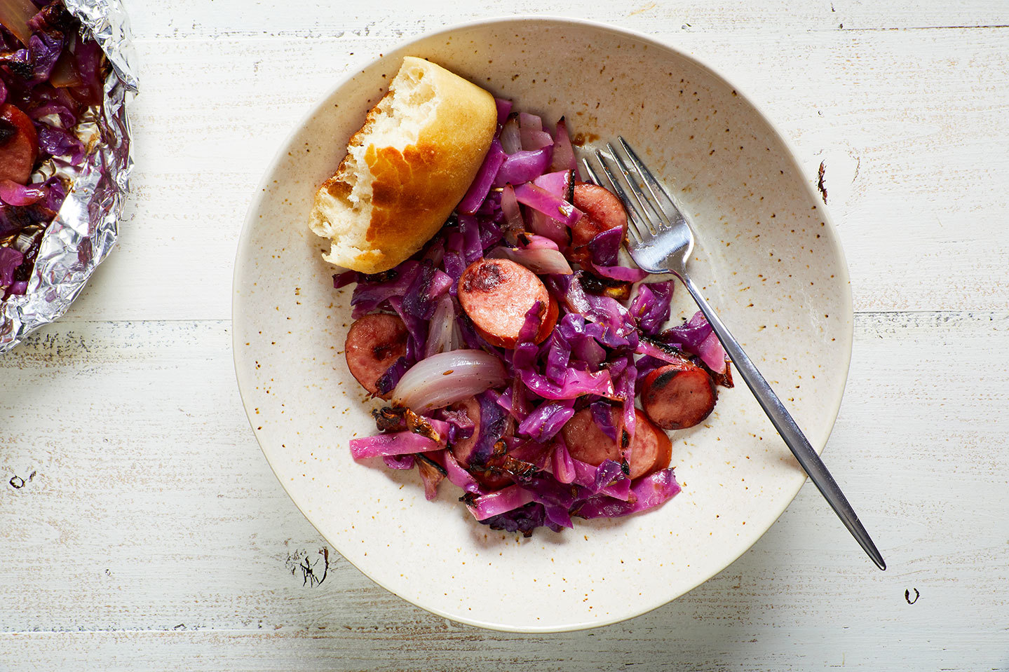Sausage and cabbage foil packet dinner