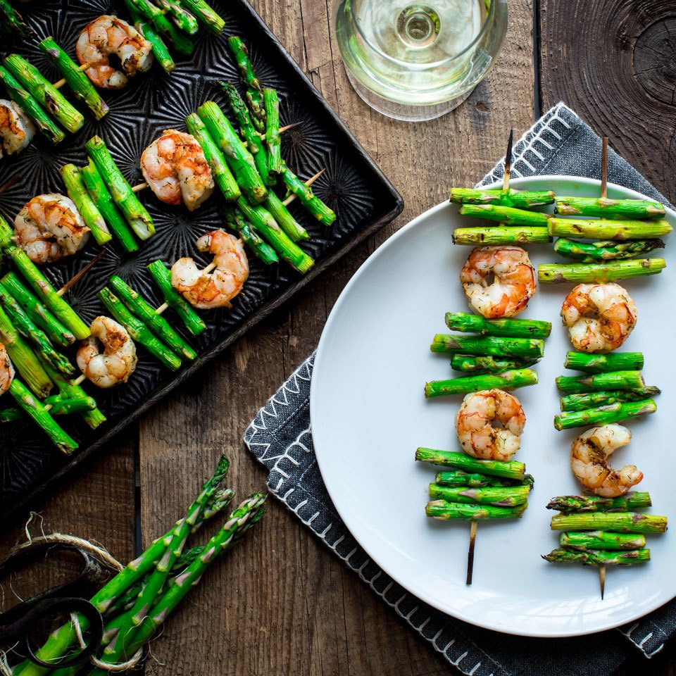 Garlic Shrimp & Asparagus Kebabs