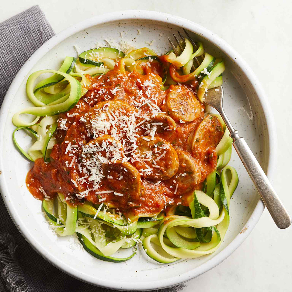 Zoodles with Tomato Sauce and Sausage