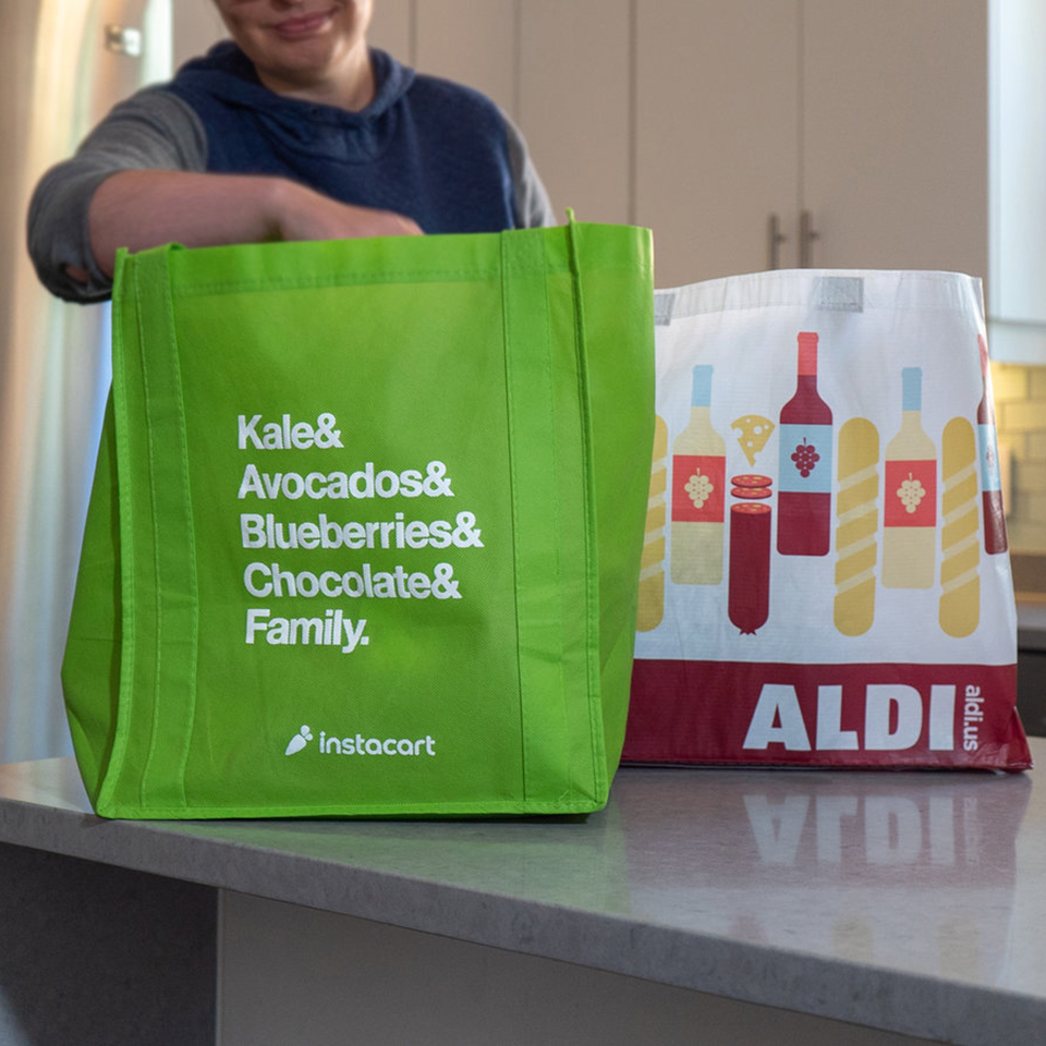 aldi and instacart food bags