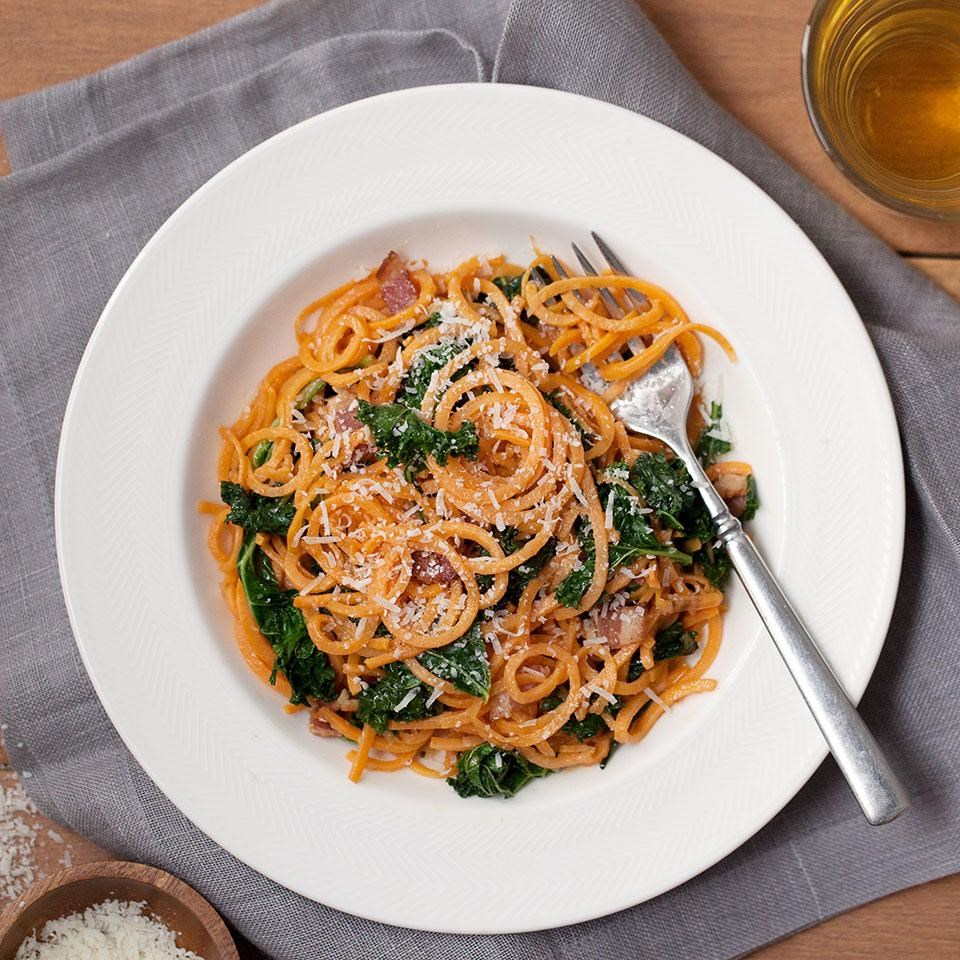 Sweet Potato Carbonara with Kale