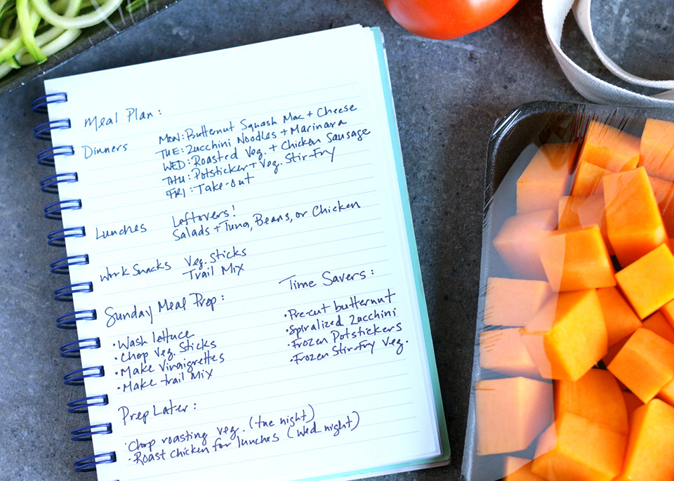 meal prep plans in notebook