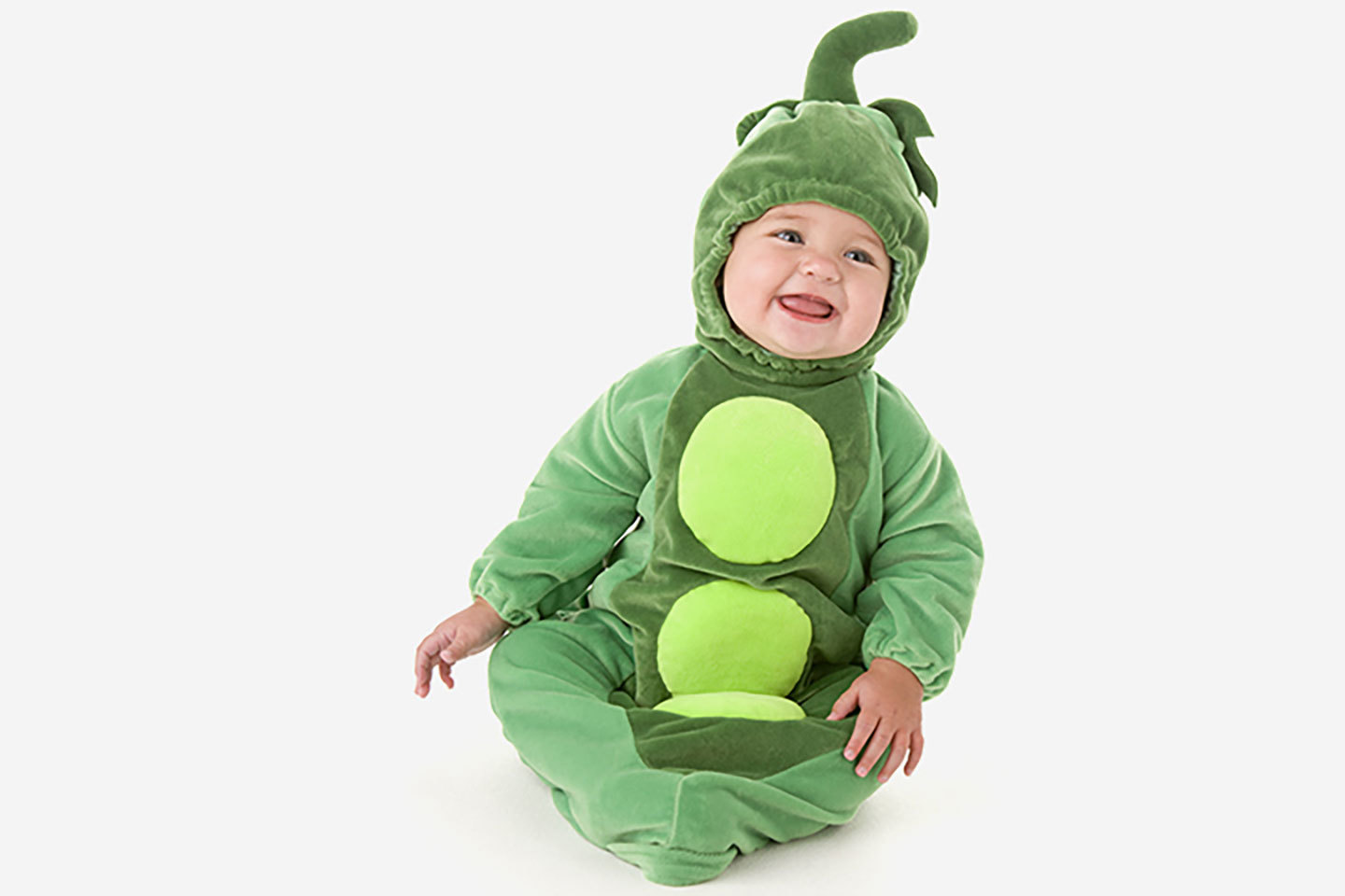 baby with green peas in a pod costume