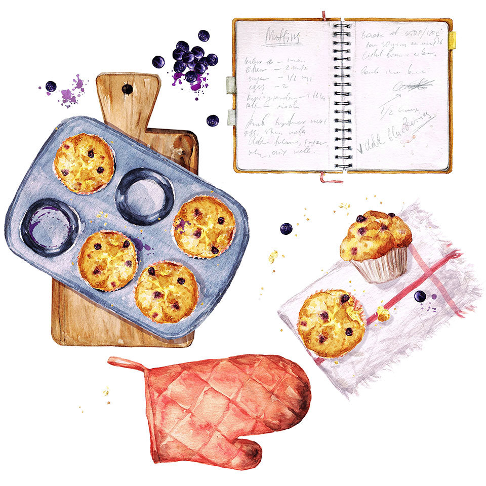 family cookbook muffin tins illustration