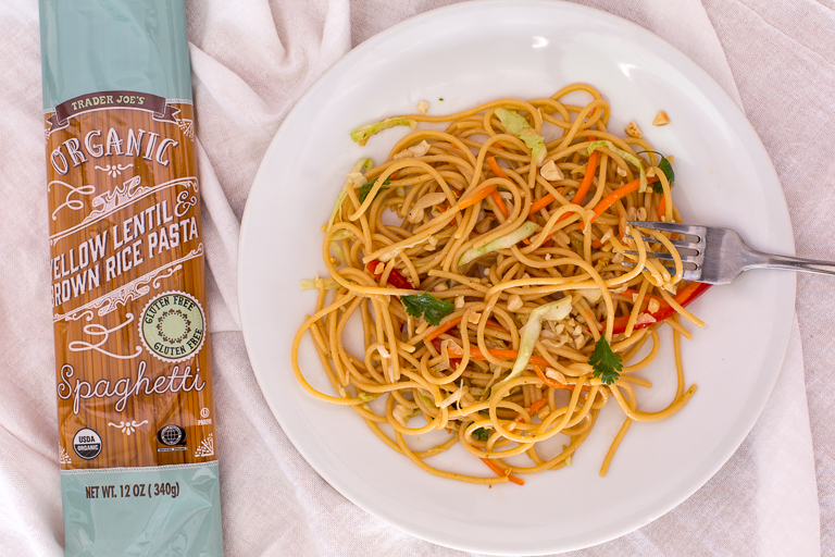 Trader Joes Brussels Organic Yellow Lentil & Brown Rice Spaghetti