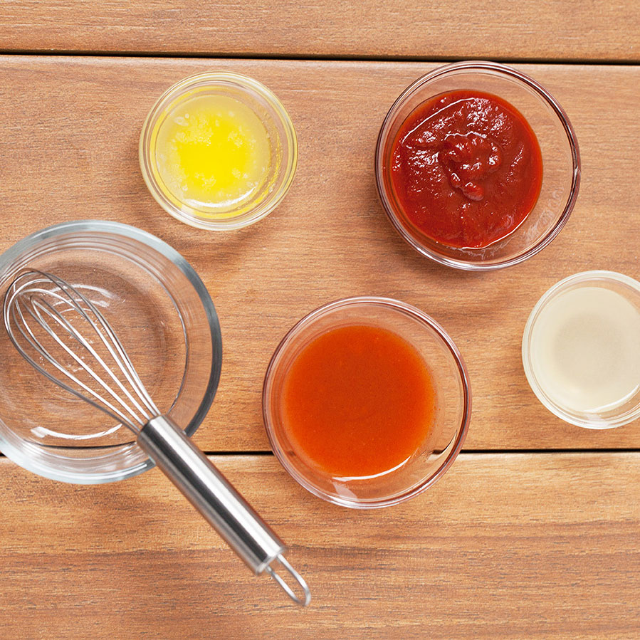 bowls of condiments