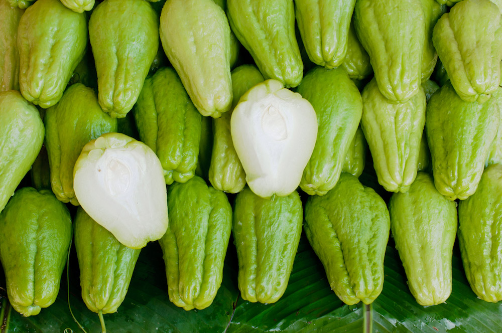 pile of chayote squash