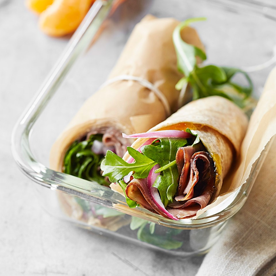 Roast Beef, Arugula and Pickled Onion Wrap