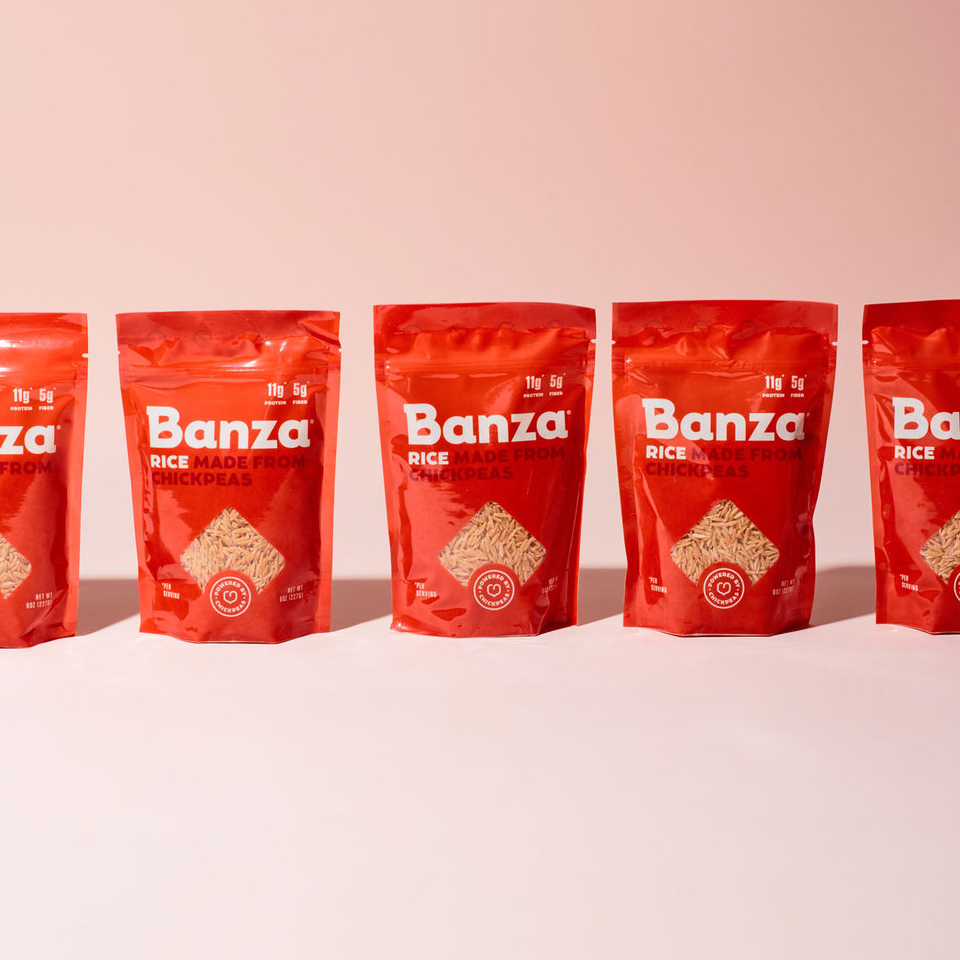 row of Banza Rice Made from Chickpeas packages