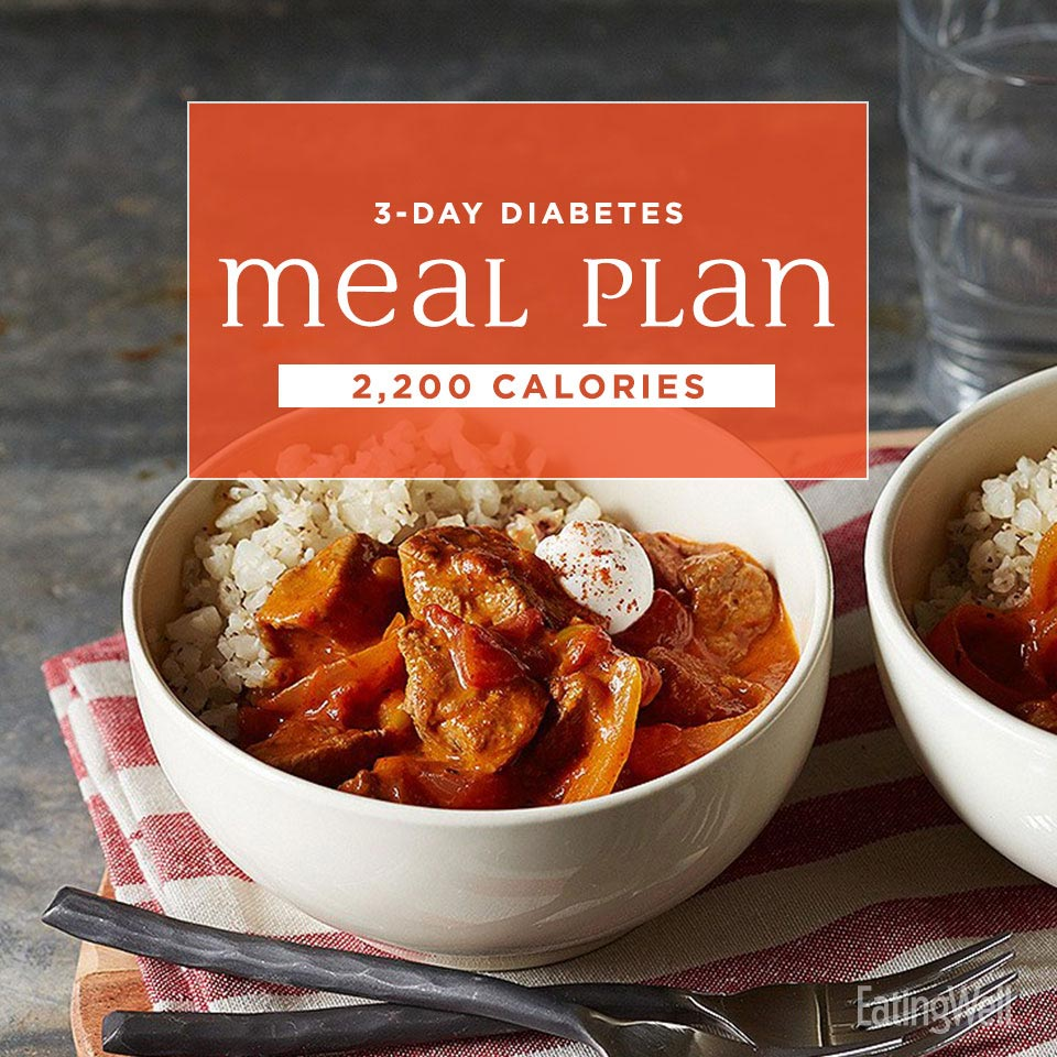 3-Day Diabetes Meal Plan: 2,200 Calories