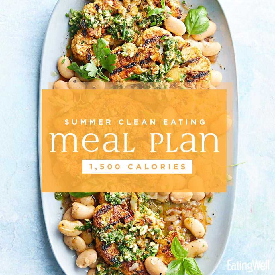 summer clean eating meal plan 1500 calories with a plate of grilled cauliflower