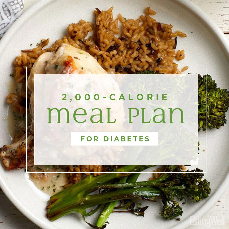 2,000 Calorie Meal Plan for Diabetes, roast chicken with pilaf and broccoli on a plate
