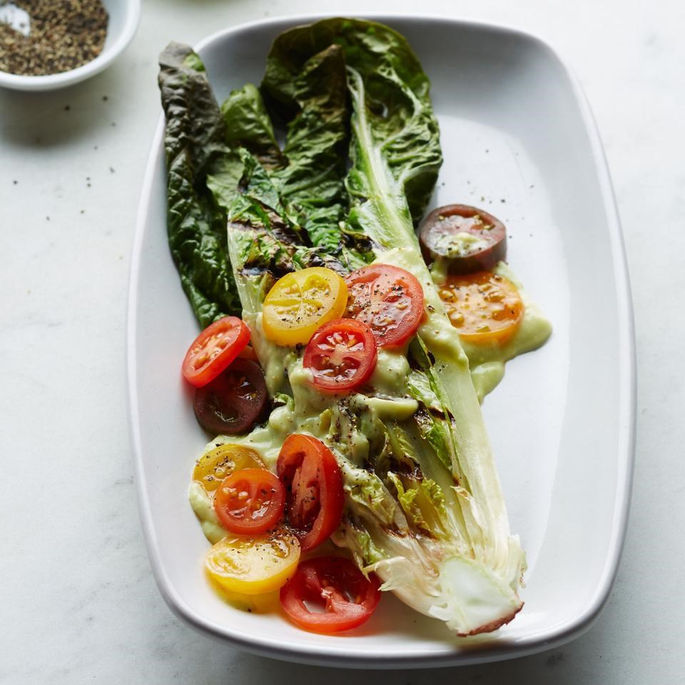 Grilled Romaine with Avocado-Lime Dressing