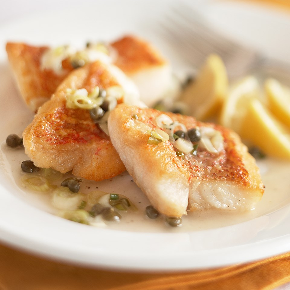 snapper piccata dish on plate