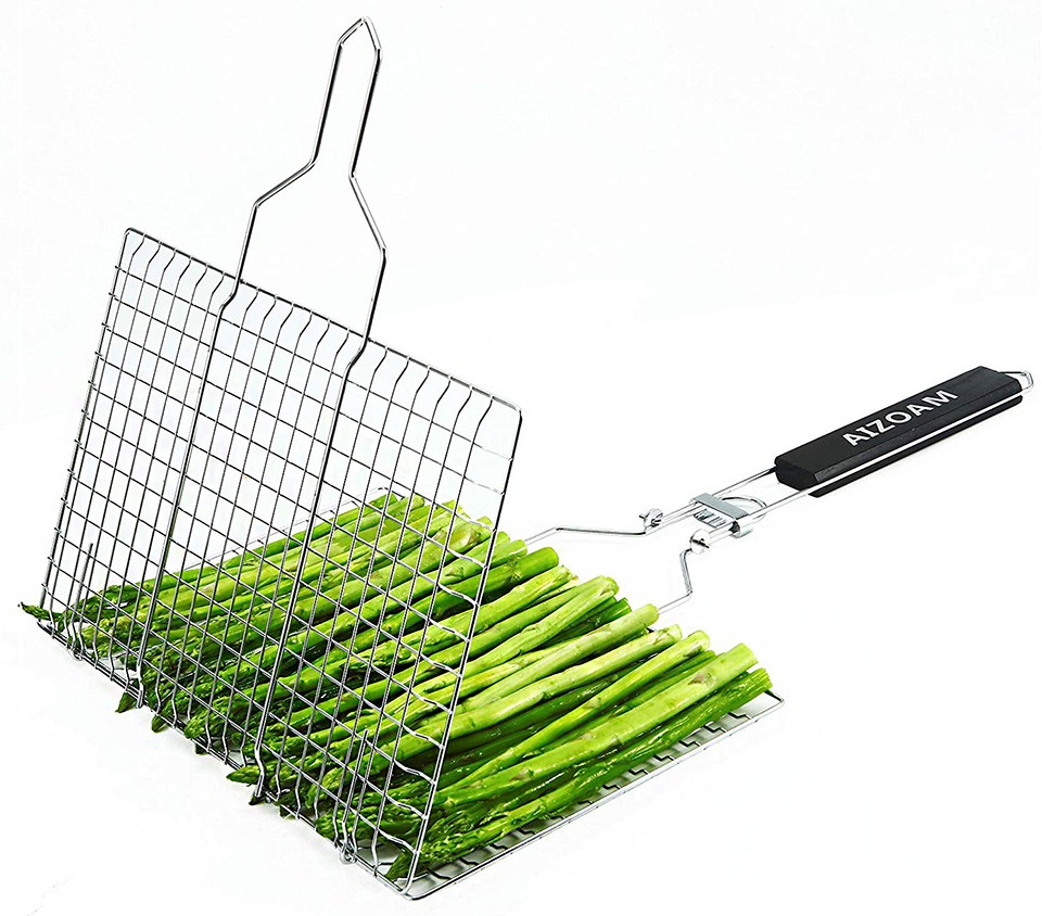 asparagus spears in black grill basket