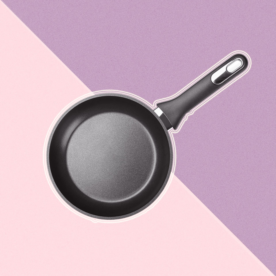 nonstick frying pan overlay pink and purple background