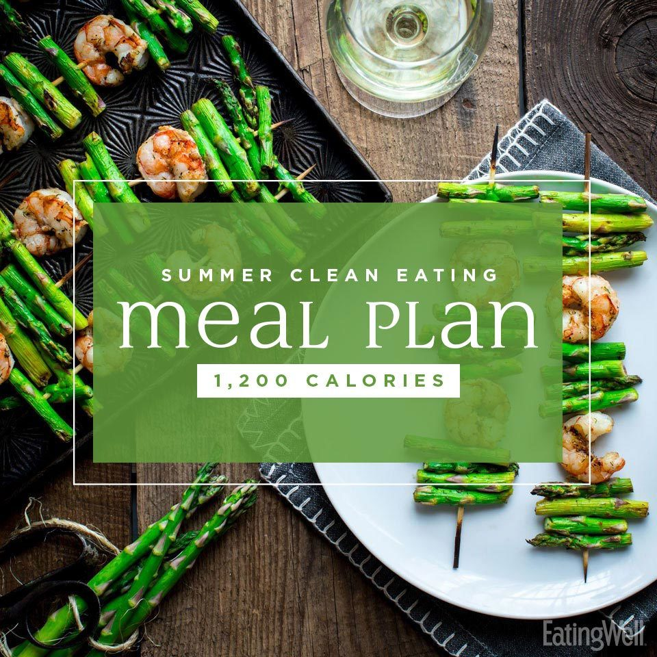 summer clean eating meal plan 1200 calories plate and pan of shrimp and asparagus